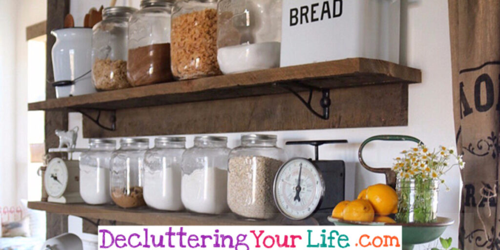 Declutter Your Kitchen -  DIY Shelves To Organize a Country Farmhouse Kitchen on a Budget