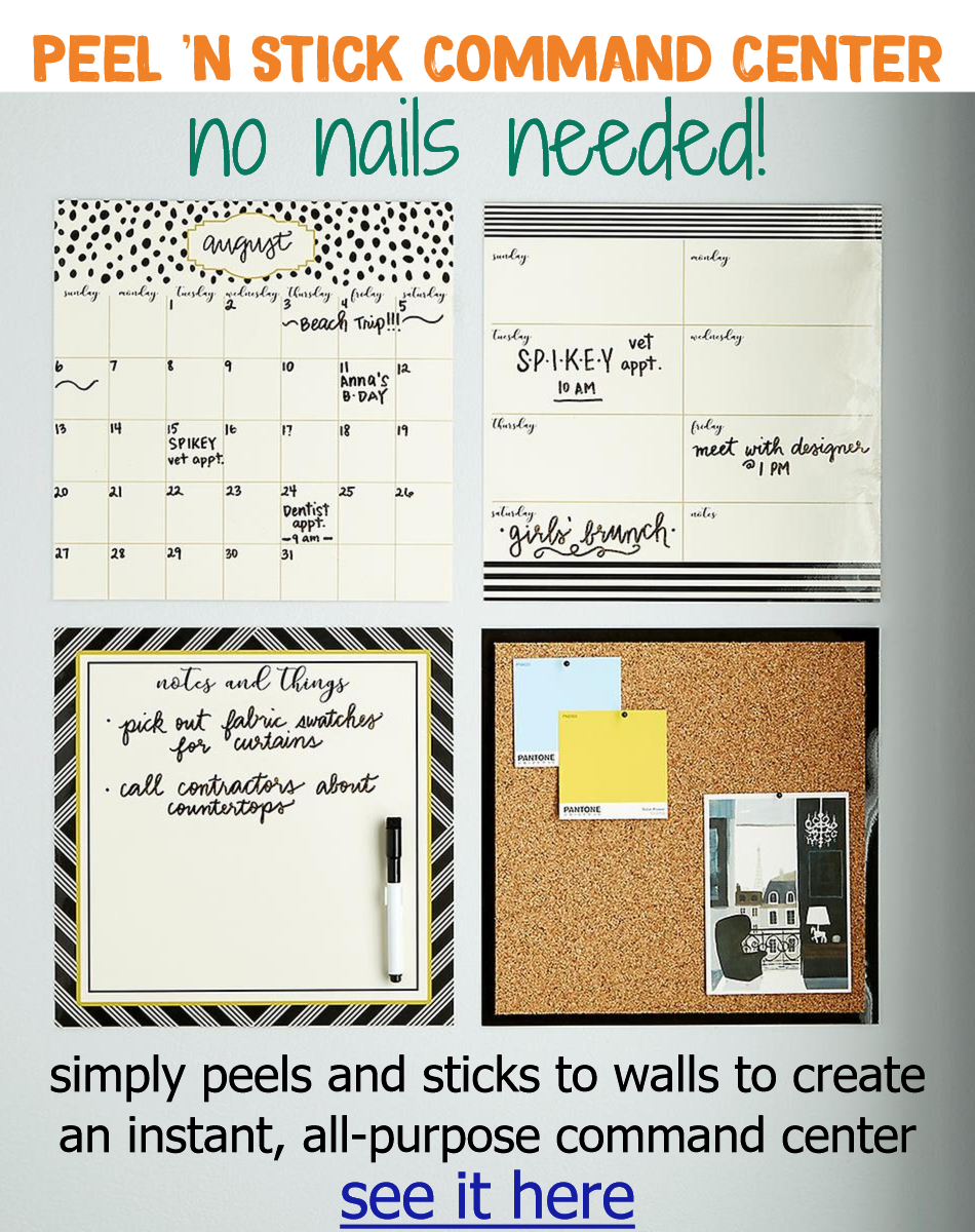 Command centers and organization wall ideas - brilliant 'Instant Command Center' idea - perfect for dorm room, apartments etc where you can't put nails in the walls.  #gettingorganized #organizationideasforthehome #dormroomideas