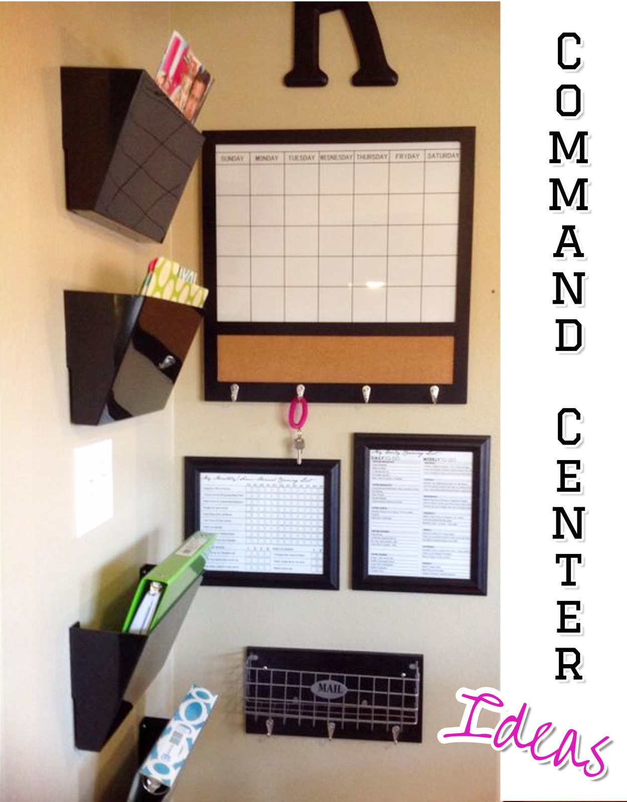 Commands centers • DIY family command centers.  Great ideas to organize your family activities on your kitchen wall.  Family command centers ideas for home organization - keep up with your kids life.