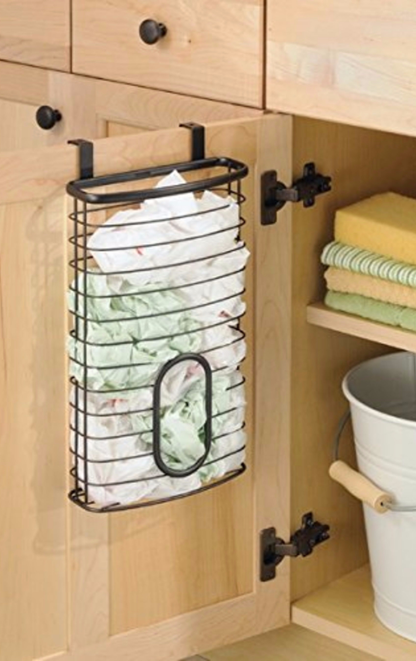 Declutter your kitchen with a plastic bag storage holder.  Plastic grocery bag storage ideas.