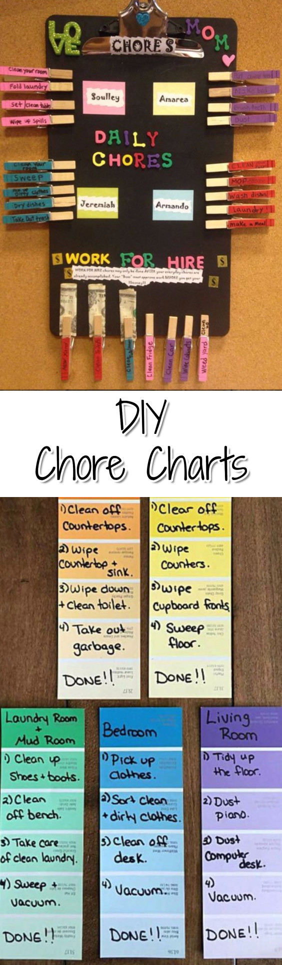 Chore Charts!  Lots of DIY chore chart ideas for your kids