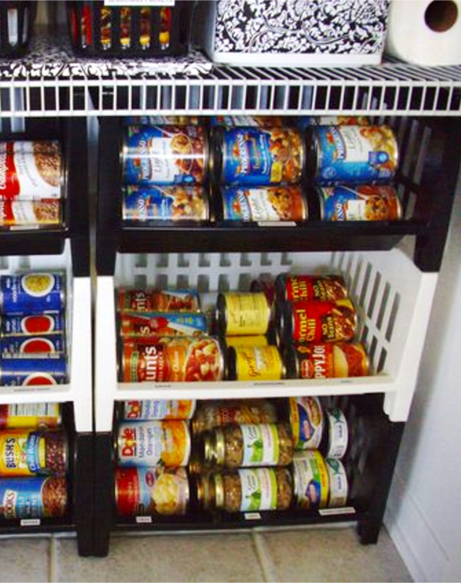 Pantry Organizing tips for an organized pantry in your kitchen - Smart way to organize canned goods in a small pantry using cheap dollar store stacking baskets / bins.