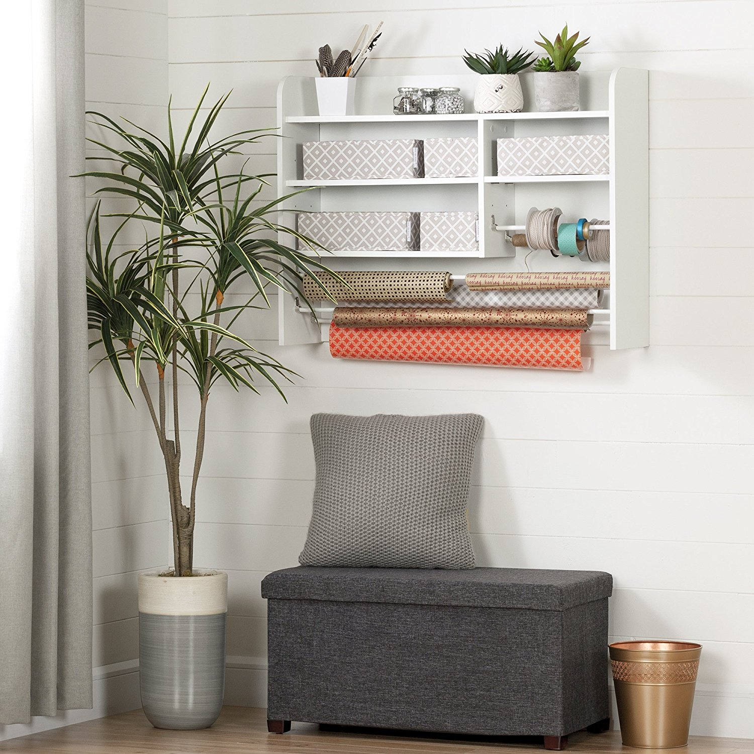 Great wall organizer for wrapping paper or crafts.
