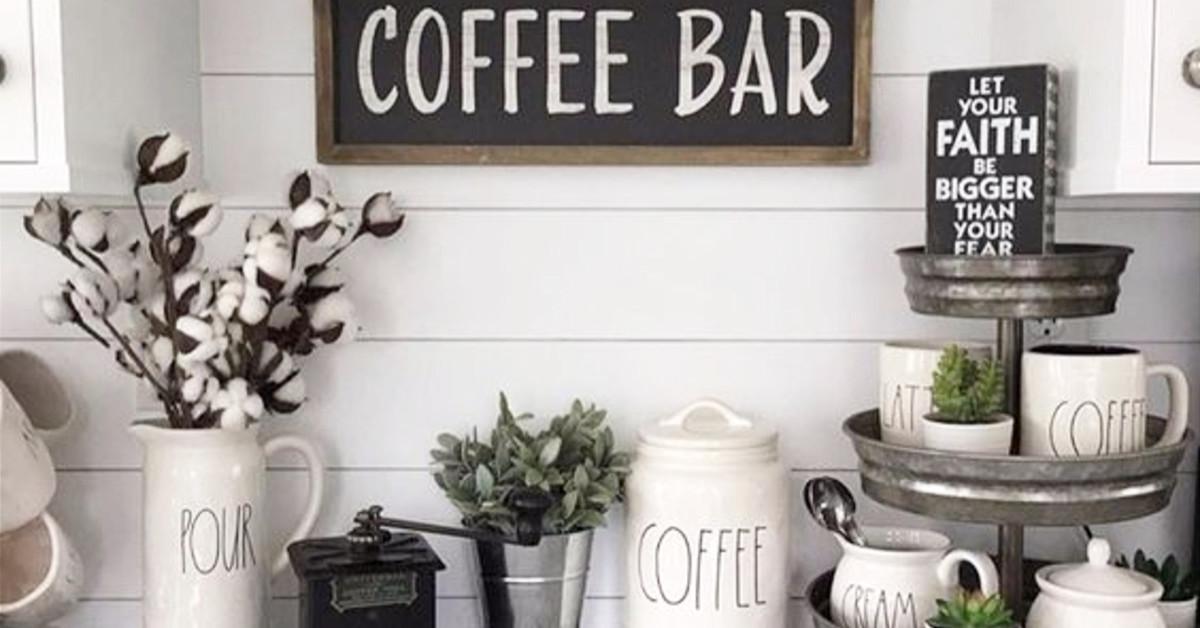 DIY coffee bar ideas with farmhouse style