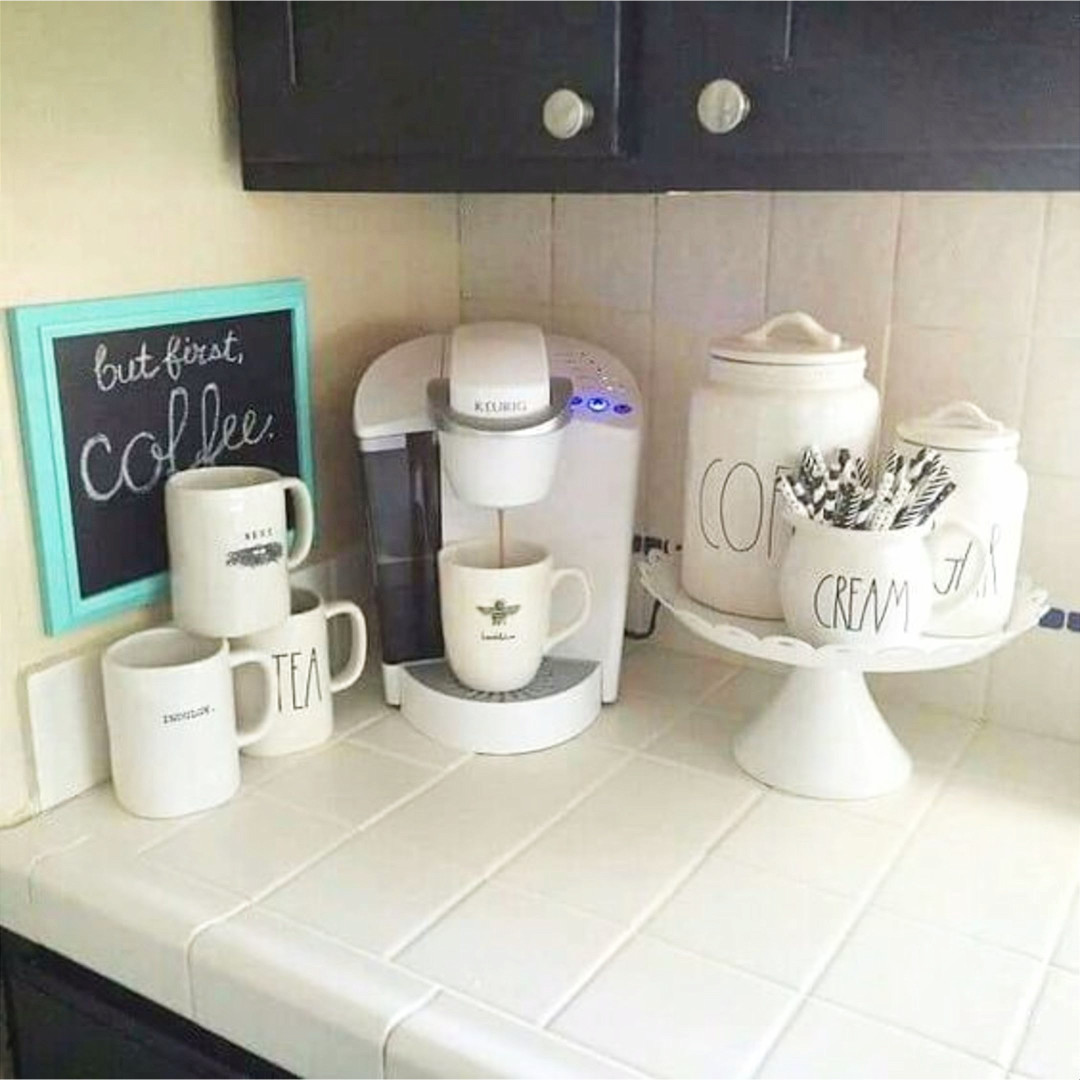 DIY coffee bar ideas for small spaces.  Perfect coffee station set up for a tiny kitchen on the corner counter.  Love the simple farmhouse /  rustic look to ths creative farmhouse style beverage station