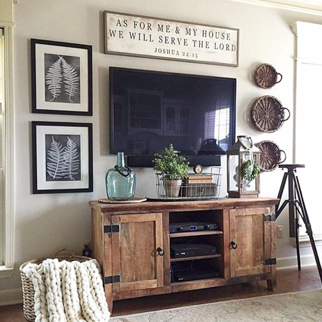 Rustic farmhouse decorating idea around tv in living room.  Love this simple diy gallery wall and that rustic cabinet #gallerywallideas #decoratingideas #livingroomideas #diyhomedecor #homedecorideas