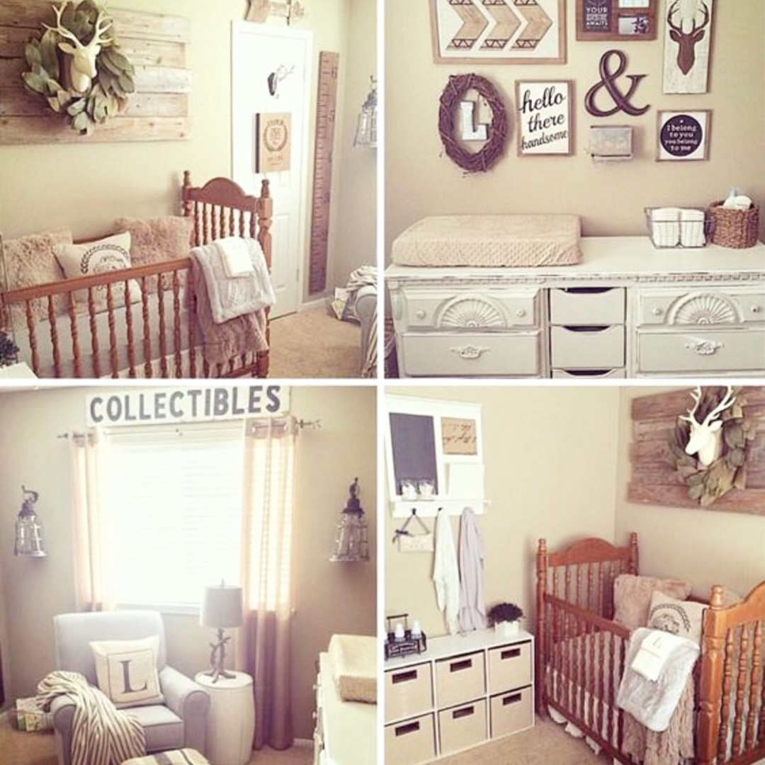 Beautiful farmhouse nursery in this rustic country home.  LOVE the accent walls and gallery wall! #gallerywallideas #decoratingideas #livingroomideas #diyhomedecor #homedecorideas