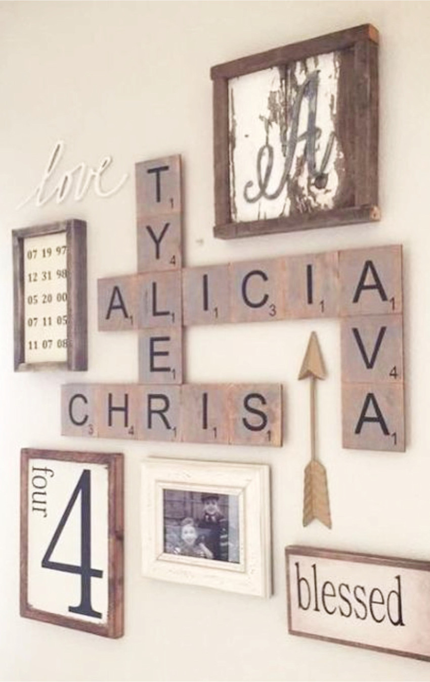 Gallery wall ideas I love - great use of large scrabble letters in this rustic/farmhouse gallery wall design