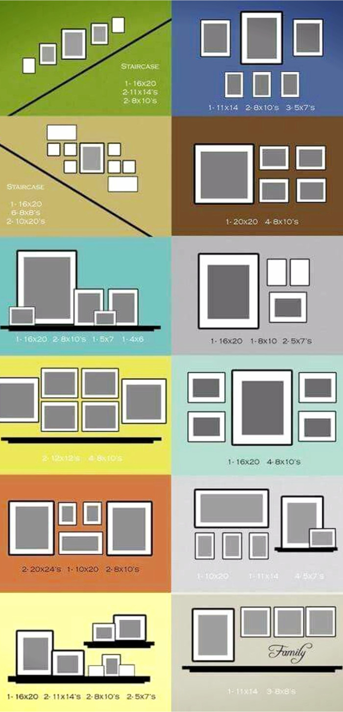Gallery wall layout ideas for pictures and decor items to hang on your focus display wall in your home #gallerywallideas #decoratingideas #livingroomideas #diyhomedecor #homedecorideas