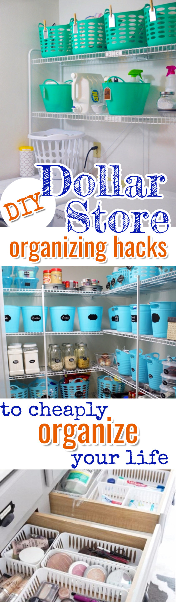 Dollar Store Organizing on a Budget - Cheap organizing ideas from dollar stores