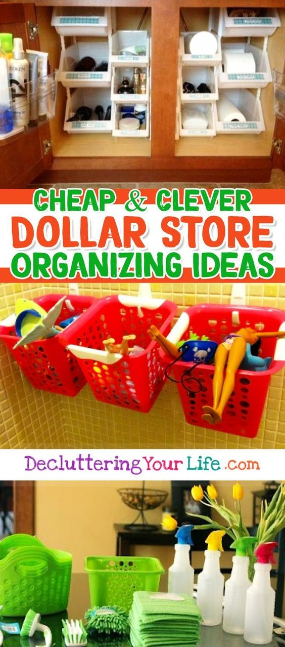 Dollar Store Organizing - Dollar Store and Dollar Tree Organization Hacks for getting organized on a budget - works for Dollar General too.  BRILLIANT home organization hacks for getting organized at home CHEAP
