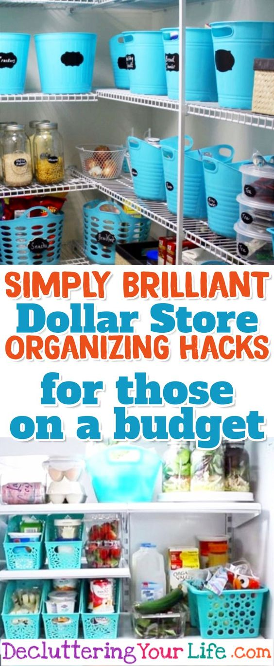 Dollar Store Organizing Hacks for those on a budget -works for Dollar General & Dollar Tree too