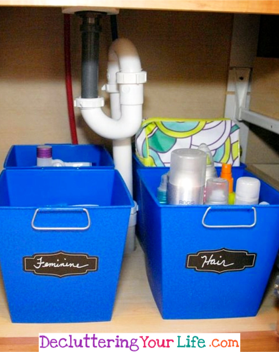 Organize Under the Bathroom Sink with Dollar store and dollar tree organizers