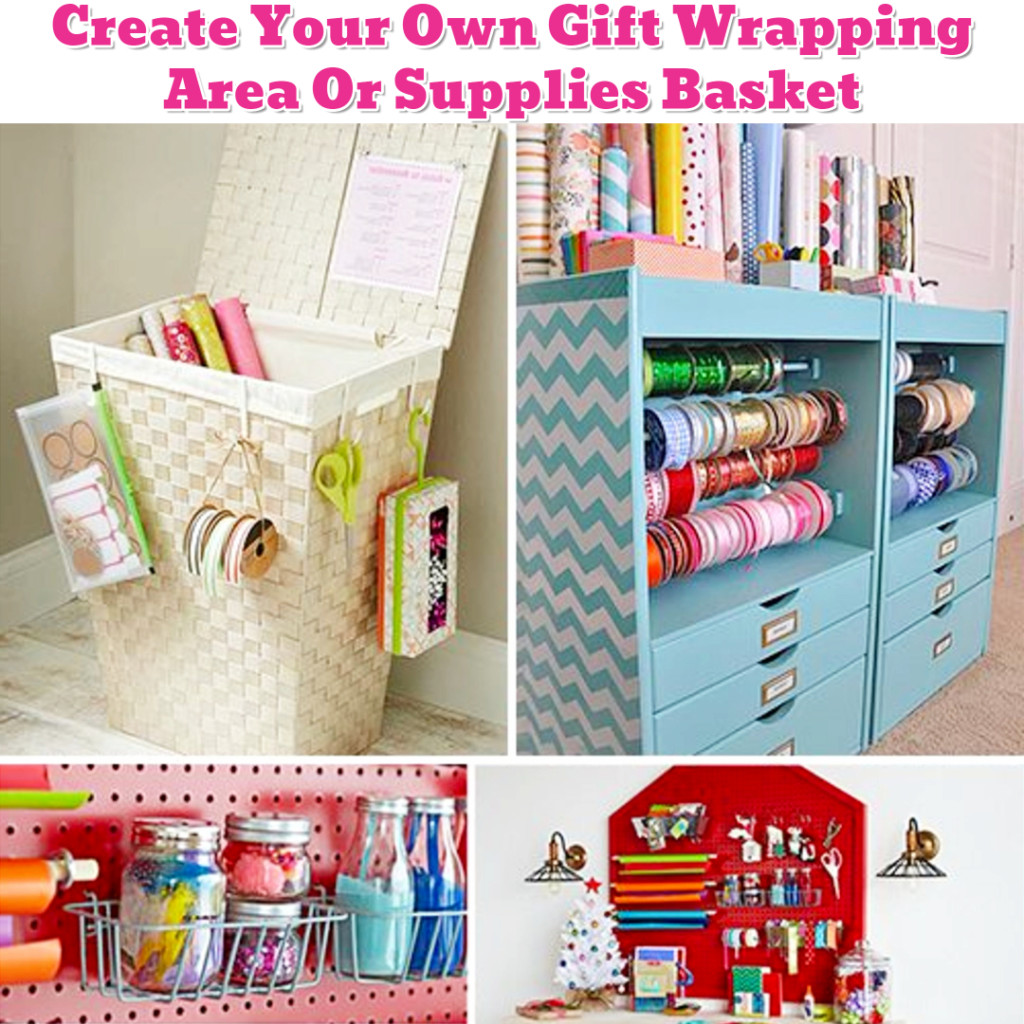 Gift Wrapping Organization ideas - Getting Organized - 50+ Easy DIY organization Ideas To Help Get Organized #getorganized #gettingorganized #organizationideasforthehome #diyhomedecor #organizingideas #cleaninghacks #lifehacks #diyideas