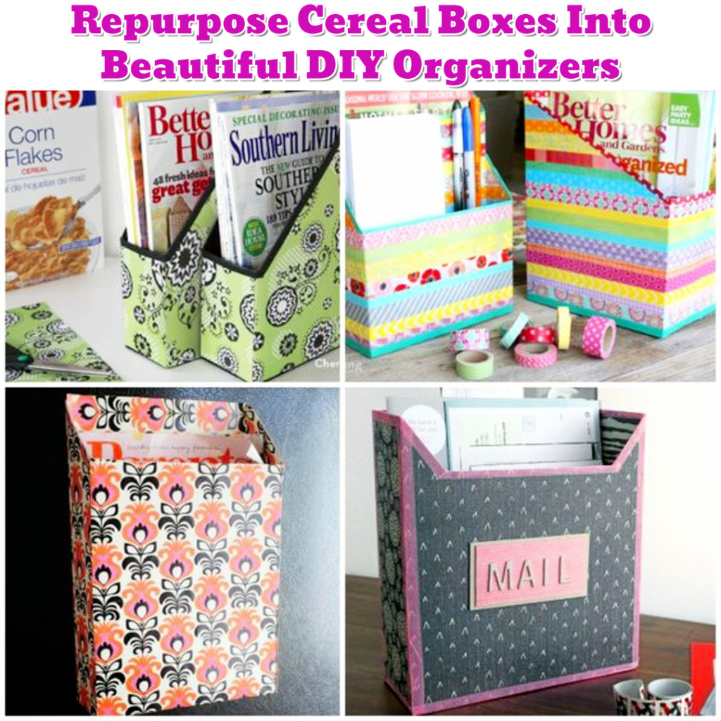 DIY organization Hacks and Ideas - Organize with Decorated Cereal Boxes - Getting Organized - 50+ Easy DIY organization Ideas To Help Get Organized #getorganized #gettingorganized #organizationideasforthehome #diyhomedecor #organizingideas #cleaninghacks #lifehacks #diyideas