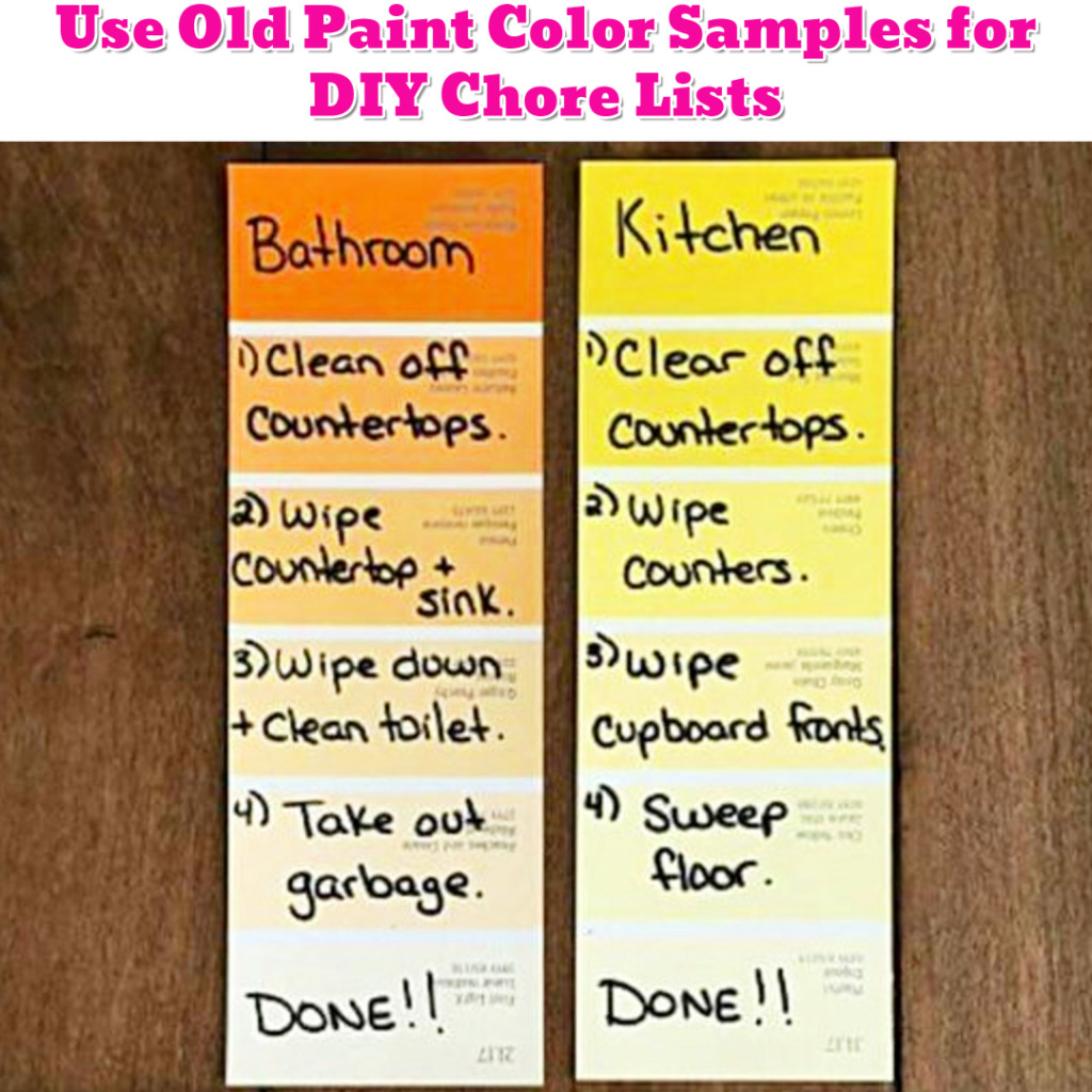 Organize To Do Lists and Chores with Old Paint Samples - Getting Organized - 50+ Easy DIY organization Ideas To Help Get Organized #getorganized #gettingorganized #organizationideasforthehome #diyhomedecor #organizingideas #cleaninghacks #lifehacks #diyideas
