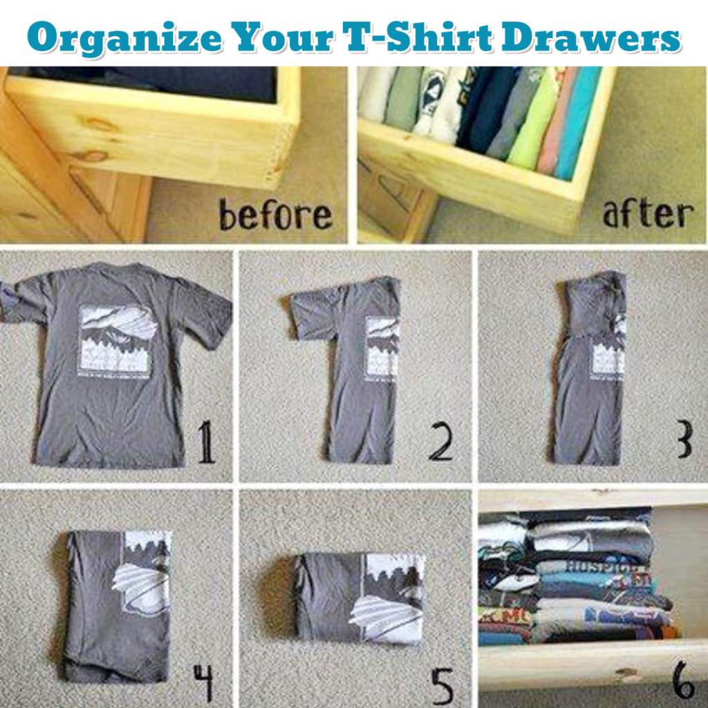 Bedroom organization ideas - how to fold shirts for more room - Getting Organized - 50+ Easy DIY organization Ideas To Help Get Organized #getorganized #gettingorganized #organizationideasforthehome #diyhomedecor #organizingideas #cleaninghacks #lifehacks #diyideas