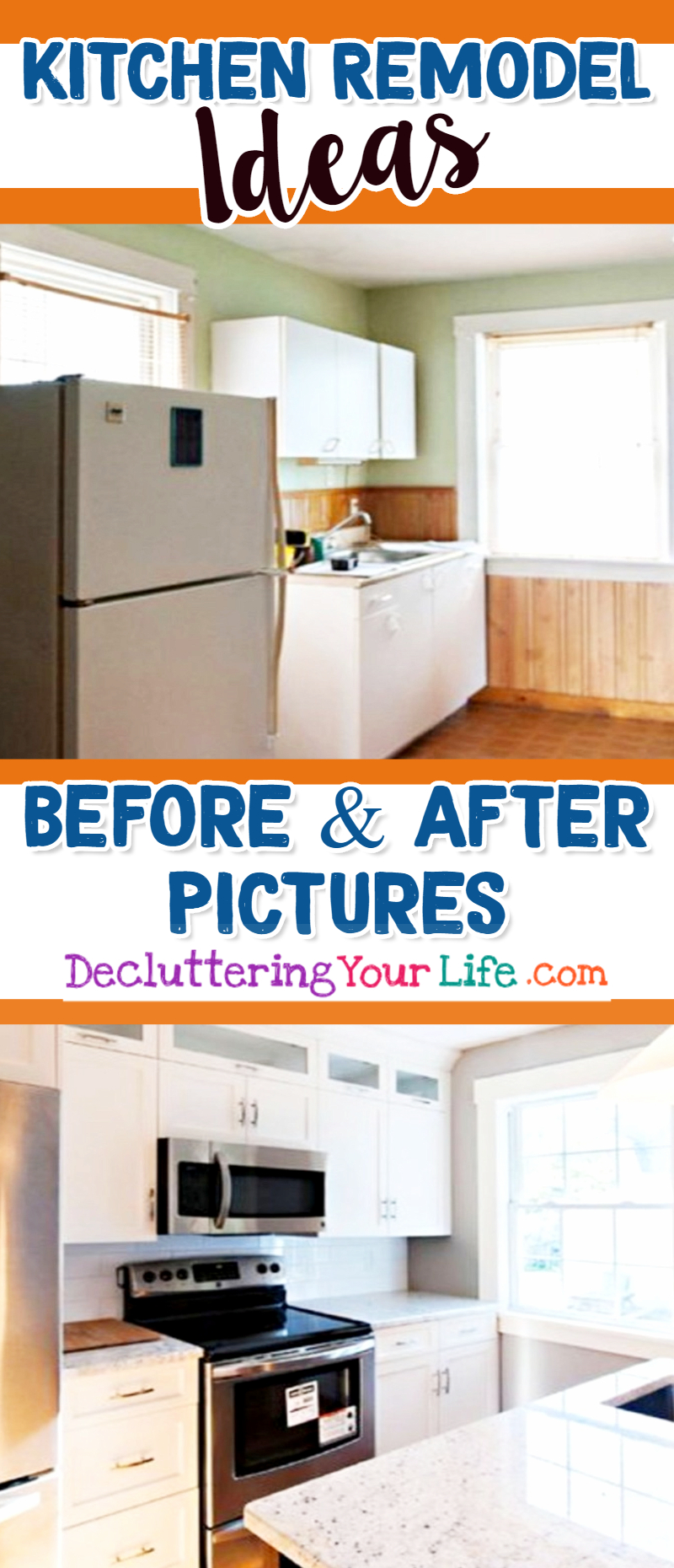 Kitchen Remodel Ideas-Before and After Pictures of Small Kitchens. LOTS of great makeover ideas for a small kitchen or apartment kitchen! #kitchenideas #beforeandafter #apartmentdecorating #diyhomedecor