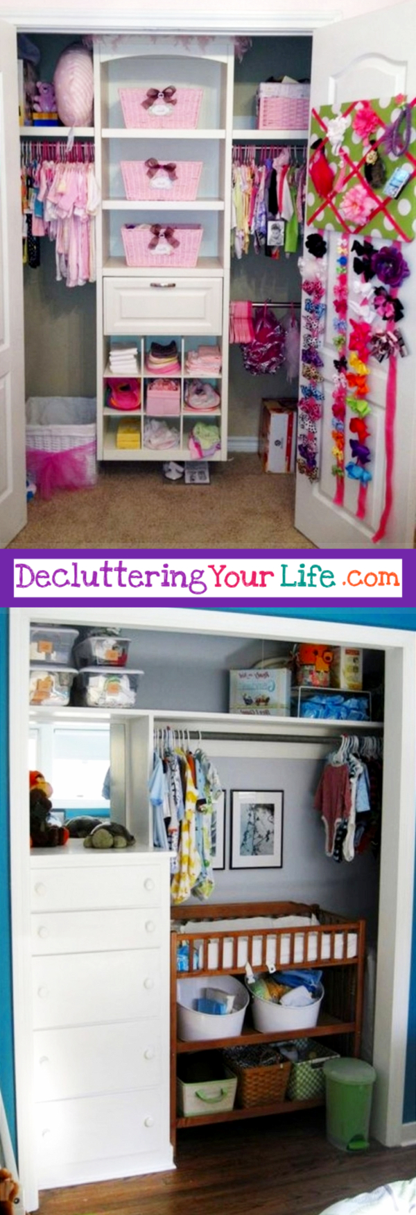 Nursery Closet Organization ideas - great DIY ideas for organizing the baby closet