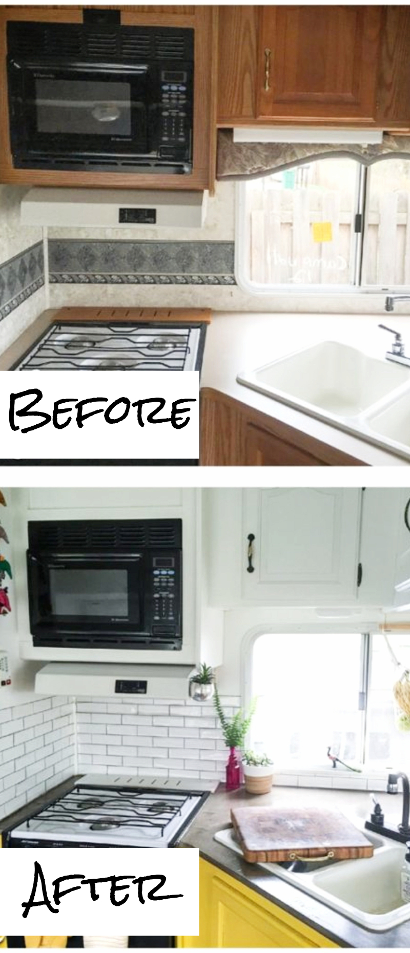 Small RV kitchen makeovers before and after - small kitchens remodel ideas and pictures #kitchenideas #farmhousedecor #kitchendecor #kitchenremodel #diyhomedecor #homedecorideas #farmhousekitchen