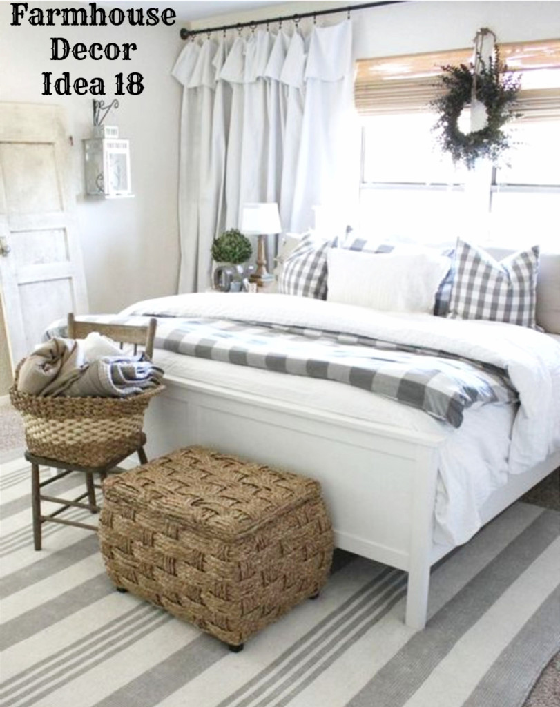 Country farmhouse bedroom decorating idea - love it!  See more Clutter-free Farmhouse Decor Ideas #farmhousedecorating #rusticfarmhouse #diydecor #homedecorideas #diyhomedecor #farmhousestyle #farmhousedecorideas #decoratingideas #kitchenideas #livingroomideas #bedroomideas #bathroomideas #laundryroomideas