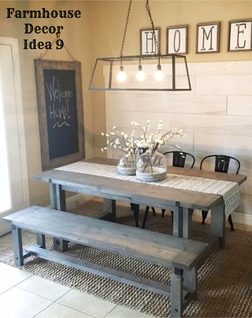 Farmhouse dining room - love the rustic table and benches!  Clutter-free Farmhouse Decor Ideas #farmhousedecorating #rusticfarmhouse #diydecor #homedecorideas #diyhomedecor #farmhousestyle #farmhousedecorideas #decoratingideas #kitchenideas #livingroomideas #bedroomideas #bathroomideas #laundryroomideas