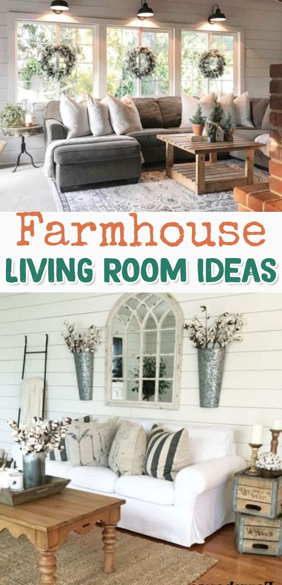 Farmhouse Living room Ideas - GORGEOUS decorating ideas for my living room!