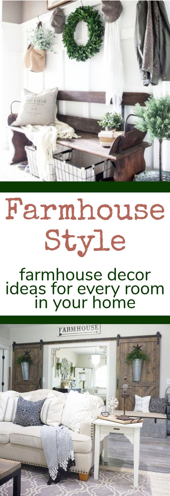 Farmhouse style decorating ideas and DIY Farmhouse room decor for every room in your home.  #farmhousedecorating #rusticfarmhouse #diydecor #homedecorideas #diyhomedecor #farmhousestyle #farmhousedecorideas #decoratingideas #kitchenideas #livingroomideas #bedroomideas #bathroomideas #laundryroomideas