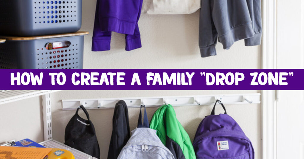 Drop Zone Ideas - How to make a family drop zone and get organized at home - #organizationideasforthehome #gettingorganized #momhacks #dropzone