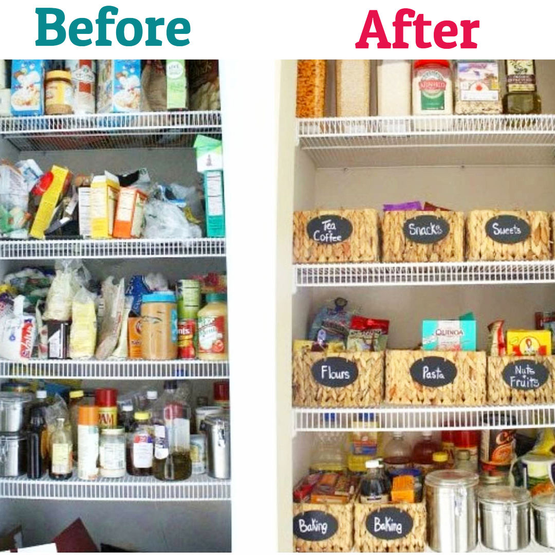 Pantry Organization Tips and Ideas - DIY Pantry Organizing Hacks - Before and after pictures from organizing my pantry #kitchenideas #gettingorganized