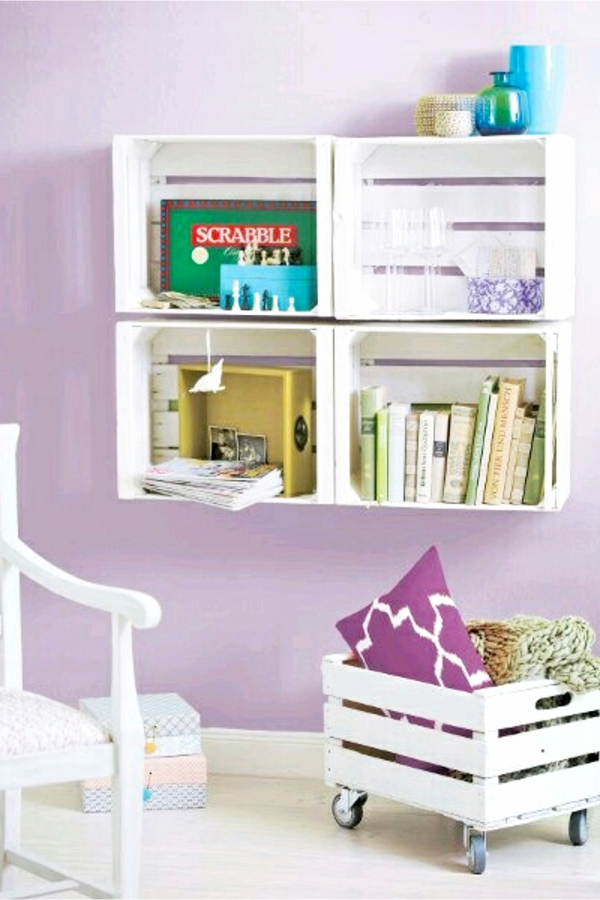 Small bedroom organization and storage ideas on a budget - get some old wooden crates, spray paint and hang on your wall - Small Bedroom Storage Ideas - Creative Storage Ideas for Small Bedrooms get some old wooden crates, spray paint and hang on your wall - Small Bedroom Storage Ideas - Creative Storage Ideas for Small Bedrooms #gettingorganized