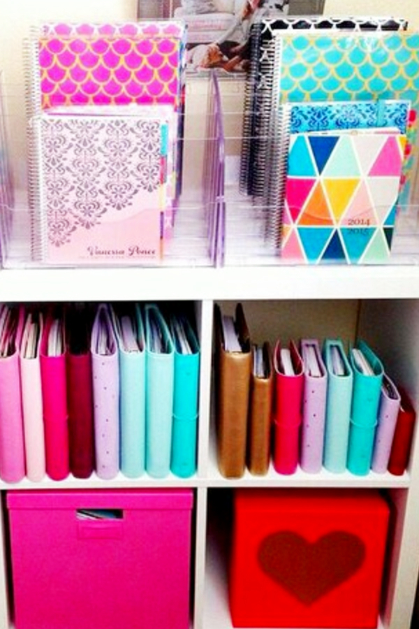Home organization tips and useful life hacks I love! Use baskets, bins, bright colored buckets and shelves for organizing life.  When you're getting organized make staying organized easier with pretty and clever cleaning hacks like these.  Great for home office organization, college dorm organization and organizing ideas for all rooms.