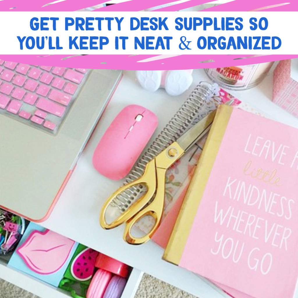 Desk Organization and Home Office Organization ideas - decorate and organize with pretty feminine office supplies to inspire you to stay organized