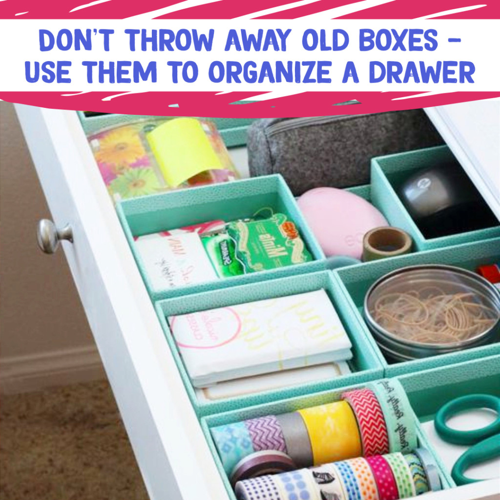 Desk Organization and Home Office Organization ideas - use old boxes to organize desk drawers