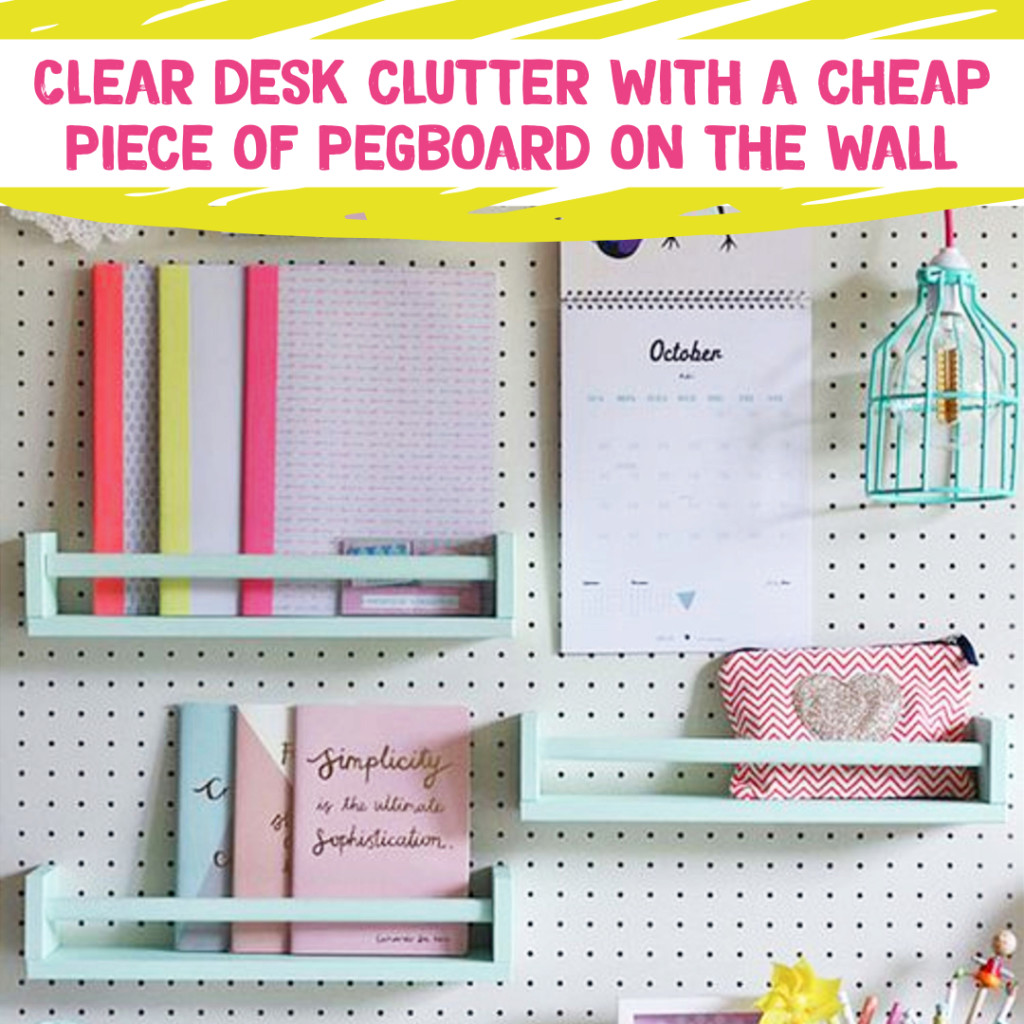 Desk Organization and Home Office Organization ideas - keep clutter off your desk with a DIY pegboard wall