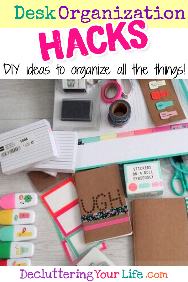 Desk Organization and Home Office Organization ideas and hacks for your home office, dorm room, bedroom or anywhere you have your desk