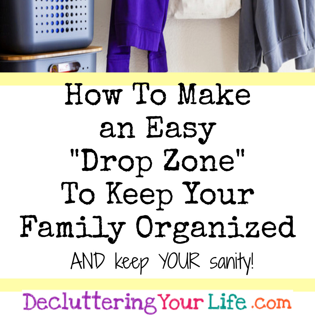 "Drop Zone Ideas - Get organized with a simple ""drop zone"" drop area to organize your family's clutter! #gettingorganized"