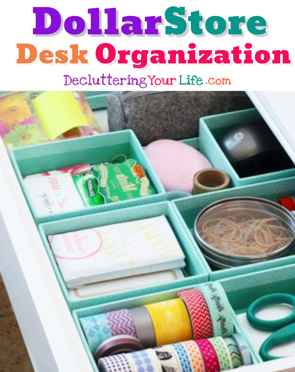 Desk organization is cheap and easy with clever dollar store organization hacks like these. DIY organizing ideas for home office desk, dorm room desk, teen bedroom desk etc. I love organizing life with Dollar Store stuff!