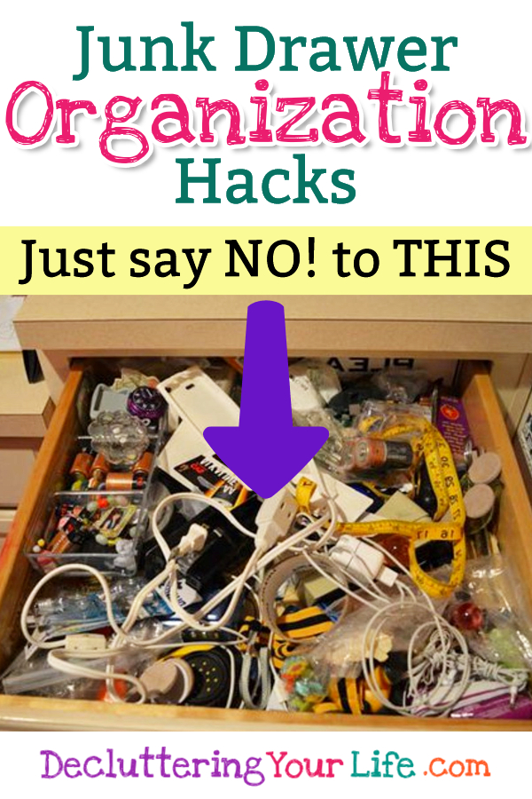 Clutter in your junk drawer? Just say NO and get your junk drawer organized! These organizing tips will help