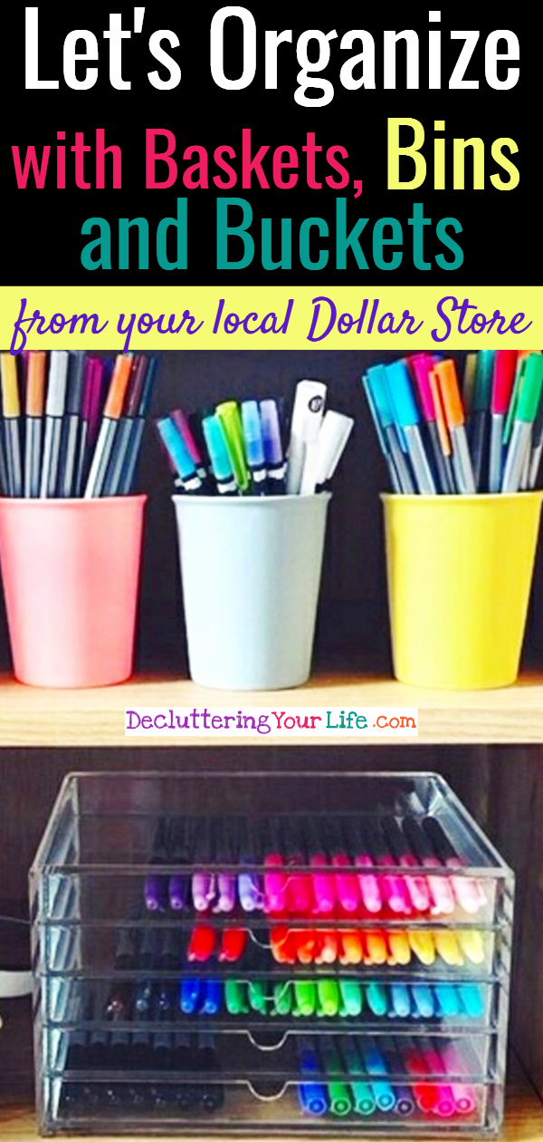 Home Organization Tips – Use Baskets, Bins and Buckets for Organizing Life on a Budget - Home organization tips, craft storage ideas and useful organizing hacks to organize on a budget! Why not use pretty baskets, bins, bright colored buckets and shelves for organizing life like you'll see in the pictures of my favorite easy DIY ideas