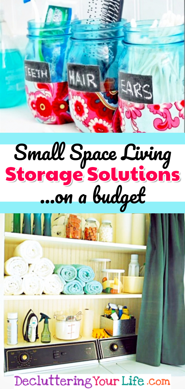 Small Space Living Storage Solutions On A Budget!  Cheap and easy DIY storage hacks for your apartment, bedroom, studio, trailer, kitchen, bathroom, rental and all tiny houses with no storage spaces