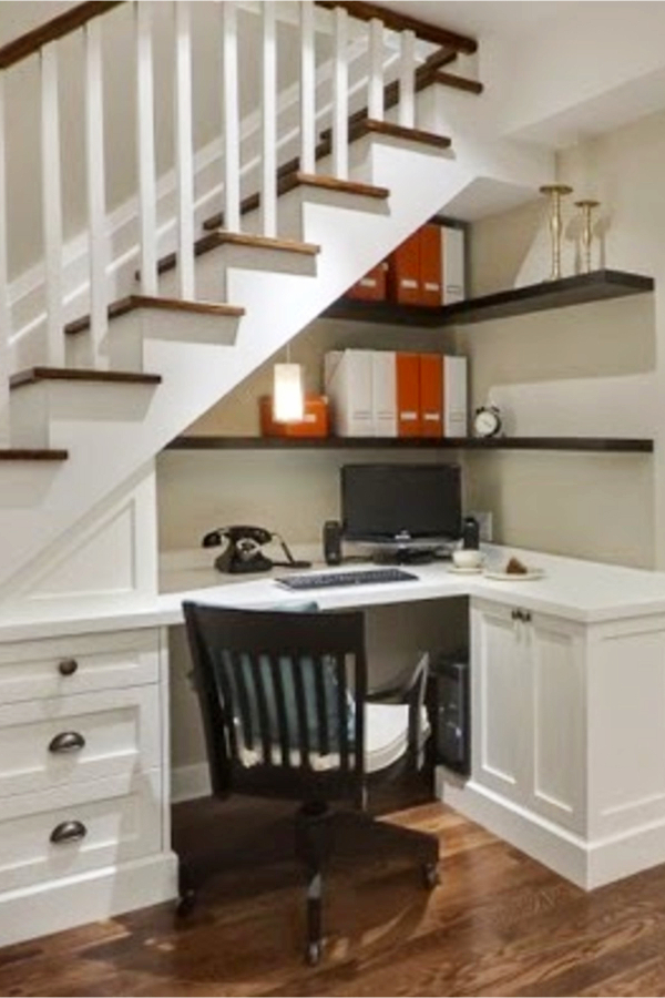 Under stair storage ideas - home office and desk under stairs