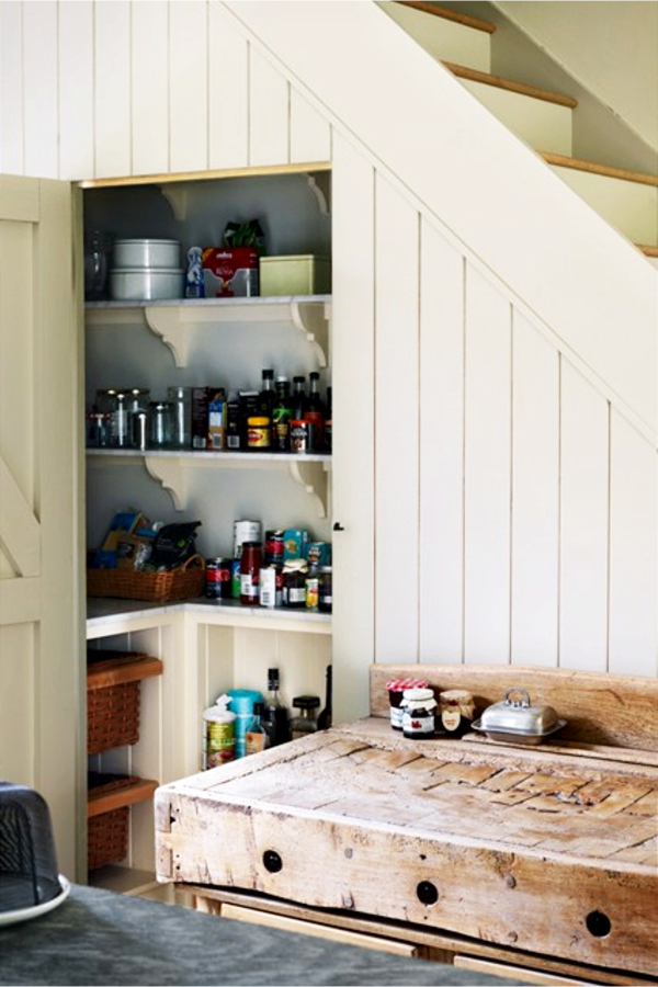 Under stair storage ideas - country farmhouse kitchen pantry under stairs