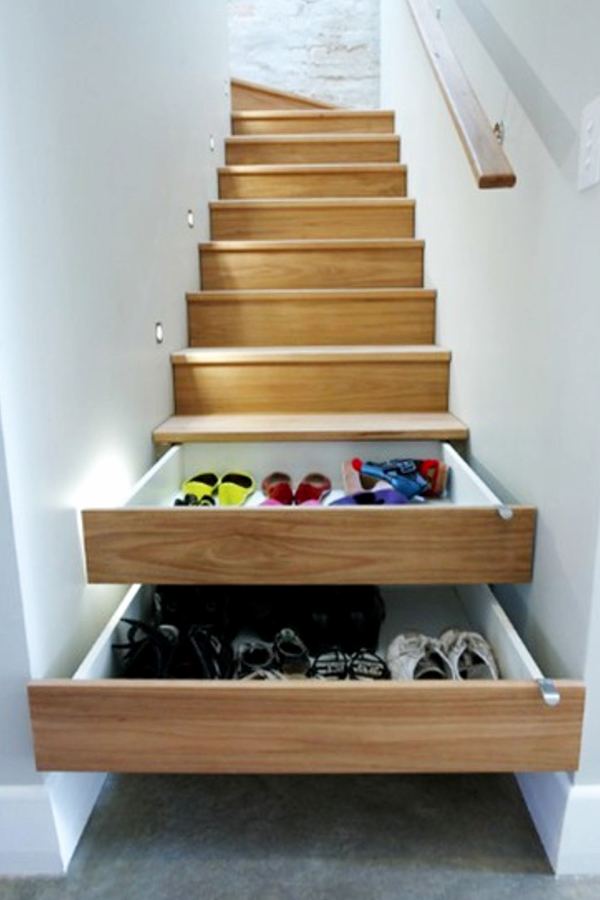 Under stair storage ideas - pull out drawers under stairs