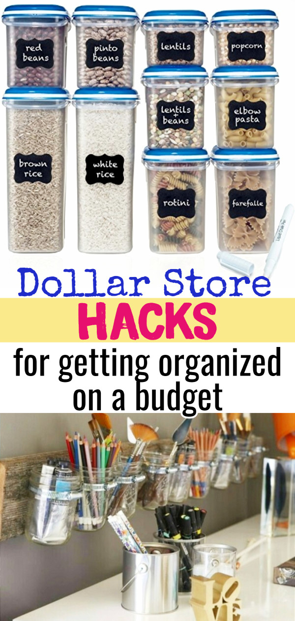 Dollar Store organizing on a budget! Below are some some GENIUS organizing hacks using simple and CHEAP items from your local Dollar Store or Dollar Tree. If you want to declutter and organize, but you're on a budget, these easy DIY tips and tricks will help