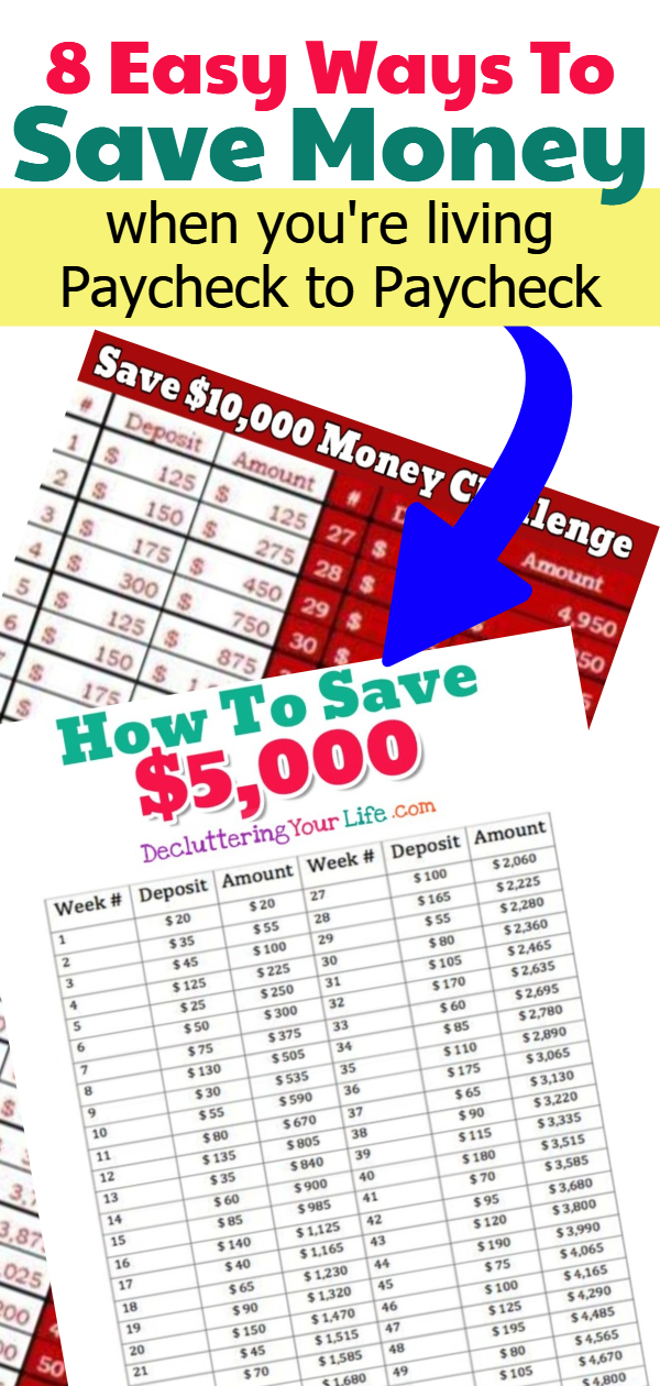 Save Money Challenge - How To SAVE Money Living Paycheck to Paycheck.  Here's 8 easy ways to save money each week even on a low income for a house, vacation, Christmas money or for an emergency savings fund for your teens in college or just as a nest egg.
