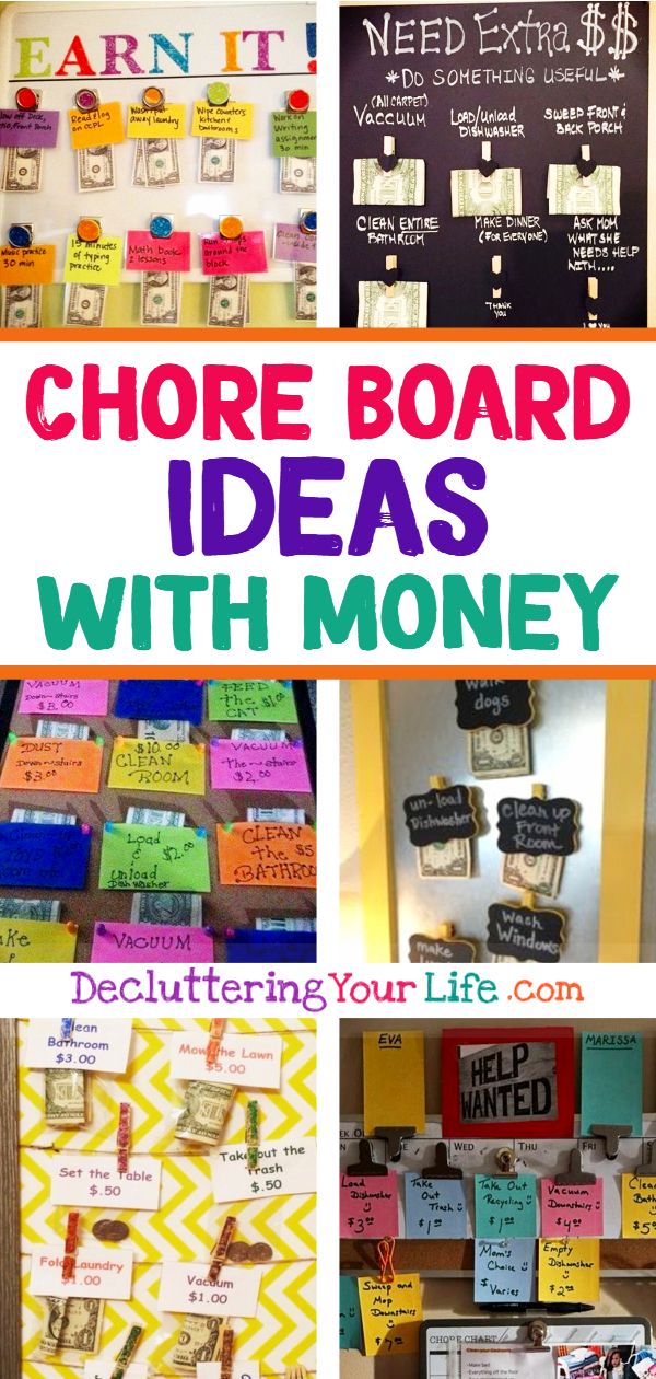 Chore Board Ideas With MONEY - Encourage Your Kids To Do Their Chores With These Easy DIY Chore Boards, Chore Charts, Checklists and more