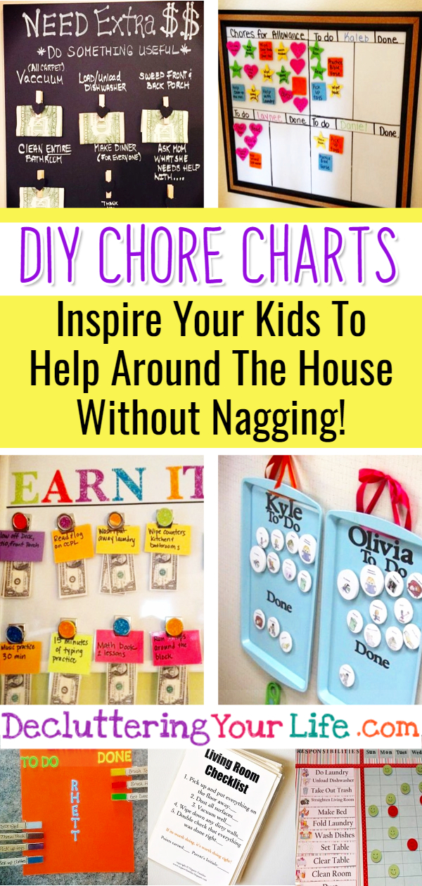 DIY Chore Charts! A Simple Chore Chart is the Secret to being an organized Mom (yep, it's a Mom Hack that WORKS!) - Inspire Your Kids To Help Around The House and Do Their Chores Without Nagging! Easy DIY Chore Charts to Organize Your Life!