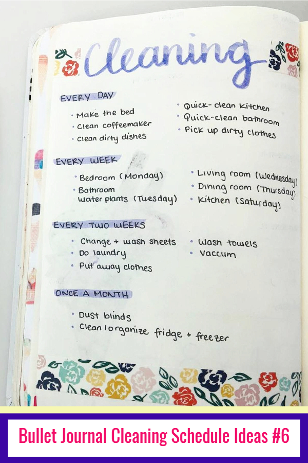 Bullet Journal Cleaning Schedule Layouts and PICTURES - LOVE these bullet journal ideas for keeping track of my cleaning checklists and my hoe maintenance needs to keep my home clean and organized WITHOUT feeling overwhelmed!