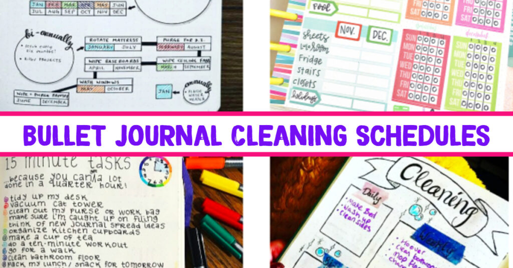 Bullet Journal Cleaning Schedule Layout Ideas and PICTURES - LOVE these bullet journal ideas for keeping track of my cleaning checklists and my hoe maintenance needs to keep my home clean and organized WITHOUT feeling overwhelmed!